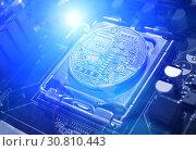 Купить «Bitcoin composition. Silver bitcoin among the electronic computer components, business concept of bitcoin cryptocurrency», фото № 30810443, снято 4 апреля 2019 г. (c) Зезелина Марина / Фотобанк Лори