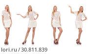 Купить «Fashionable woman isolated on white», фото № 30811839, снято 18 июня 2019 г. (c) Elnur / Фотобанк Лори