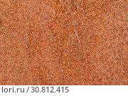 Купить «Closeup macro view of flecked old rusty metal surface yellow and orange color», фото № 30812415, снято 13 мая 2019 г. (c) А. А. Пирагис / Фотобанк Лори