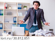 Купить «Businessman rejecting new ideas with lots of papers», фото № 30812851, снято 18 февраля 2019 г. (c) Elnur / Фотобанк Лори