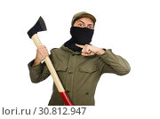 Купить «Criminal wearing mask isolated on white», фото № 30812947, снято 19 декабря 2014 г. (c) Elnur / Фотобанк Лори