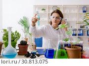 Купить «Old female biotechnology chemist working in the lab», фото № 30813075, снято 7 декабря 2018 г. (c) Elnur / Фотобанк Лори