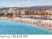 Купить «Promenade des Anglais. Nice. French Riviera», фото № 30814707, снято 13 августа 2018 г. (c) EugeneSergeev / Фотобанк Лори