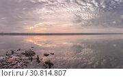 Купить «Panoramic view of the salt lake at sunset», фото № 30814807, снято 23 октября 2018 г. (c) Sergii Zarev / Фотобанк Лори