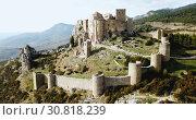Купить «Top view of the castle Castillo de Loarre. Huesca Province. Aragon. Spain», видеоролик № 30818239, снято 24 декабря 2018 г. (c) Яков Филимонов / Фотобанк Лори