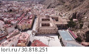 Купить «Aerial view of stone building of old University of Orihuela, Spain», видеоролик № 30818251, снято 17 апреля 2019 г. (c) Яков Филимонов / Фотобанк Лори