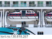 Купить «Multiple deck of Cruise Liner Norwegian Jewel with lifeboats aboard ship», фото № 30818267, снято 10 мая 2019 г. (c) А. А. Пирагис / Фотобанк Лори