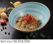 Купить «Spaghetti with cheese in a plate on the table», фото № 30818599, снято 26 марта 2019 г. (c) Алексей Кокорин / Фотобанк Лори