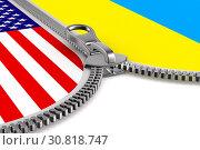 flag USA and Ukraine and zipper. 3D illustration. Стоковая иллюстрация, иллюстратор Ильин Сергей / Фотобанк Лори