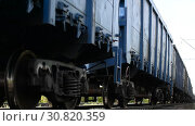 Купить «Close-up of a wheeled pair (wheeled cart) of a freight railway train», видеоролик № 30820359, снято 17 сентября 2018 г. (c) Mikhail Erguine / Фотобанк Лори