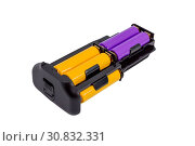Купить «Adapter AA batteries for the battery handle modern DSLR camera isolated on white background», фото № 30832331, снято 20 июня 2019 г. (c) easy Fotostock / Фотобанк Лори
