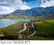 Купить «Panoramic view over Embalse de Zahara inland lake, Andalusia, Spain», фото № 30833871, снято 18 апреля 2019 г. (c) Яков Филимонов / Фотобанк Лори