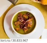 Купить «Cream soup of zucchini with ham», фото № 30833967, снято 18 июля 2019 г. (c) Яков Филимонов / Фотобанк Лори