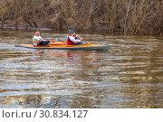 Russia Samara April 2018: Spring rafting of tourists in a canoe on the Kondurcha River. Редакционное фото, фотограф Акиньшин Владимир / Фотобанк Лори