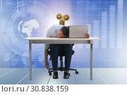 Купить «Employee losing energy from too much work», фото № 30838159, снято 16 июля 2019 г. (c) Elnur / Фотобанк Лори