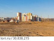 Купить «Smooth site for the construction of a new microdistrict», фото № 30838215, снято 20 апреля 2019 г. (c) Дмитрий Тищенко / Фотобанк Лори