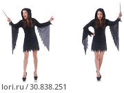 Woman with magical stick isolated on white. Стоковое фото, фотограф Elnur / Фотобанк Лори