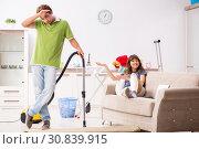 Купить «Husband helping leg injured wife in housework», фото № 30839915, снято 4 октября 2018 г. (c) Elnur / Фотобанк Лори