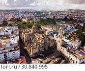Купить «Aerial view of Jerez de la Frontera with Cathedral and Moorish alcazar», фото № 30840995, снято 19 апреля 2019 г. (c) Яков Филимонов / Фотобанк Лори