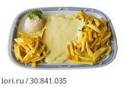 Купить «Baked chicken fillet in cheese cream sauce», фото № 30841035, снято 26 июня 2019 г. (c) Яков Филимонов / Фотобанк Лори