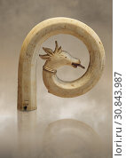 Medieval Bouquetin goats horn ivory crosier with traces of paint, circa 12th century from the south of Italy. Inv OA 11150, The Louvre Museum, Paris. (2019 год). Редакционное фото, фотограф Funkystock / age Fotostock / Фотобанк Лори