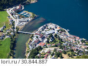 Top view at Aurland town and river Aurlandselvi. Summer sunny day, Norway (2018 год). Стоковое фото, фотограф Кекяляйнен Андрей / Фотобанк Лори