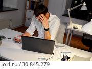 Купить «businessman with papers working at night office», фото № 30845279, снято 25 января 2019 г. (c) Syda Productions / Фотобанк Лори