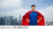 Купить «man in red superhero cape over singapore city», фото № 30846051, снято 3 февраля 2019 г. (c) Syda Productions / Фотобанк Лори