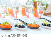 Купить «Delicious red and black caviar fish close-up in white and black spoons on white table. Beautifully decorated catering banquet table.», фото № 30851043, снято 28 мая 2020 г. (c) easy Fotostock / Фотобанк Лори