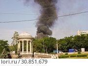 Купить «black dense smoke of the fire is seen because of trees, Volgograd», фото № 30851679, снято 20 июня 2015 г. (c) Владимир Арсентьев / Фотобанк Лори