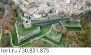 Купить «Aerial view of Pamplona medieval town with fortification in Navarre, Spain», видеоролик № 30851875, снято 23 декабря 2018 г. (c) Яков Филимонов / Фотобанк Лори