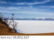Купить «The view from Olkhon island on lake Baikal in winter sunny day. Irkutsk region, Eastern Siberia,», фото № 30852527, снято 16 марта 2019 г. (c) Наталья Волкова / Фотобанк Лори