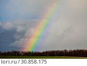 Купить «Landscape with rainbow, Ense, North Rhine-Westphalia, Germany», фото № 30858175, снято 7 марта 2019 г. (c) Caro Photoagency / Фотобанк Лори