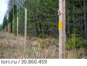 Купить «Электроизгородь на краю леса», фото № 30860459, снято 31 октября 2018 г. (c) Вячеслав Палес / Фотобанк Лори