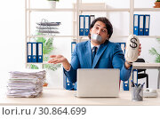Купить «Young male employee with tape on the mouth», фото № 30864699, снято 13 декабря 2018 г. (c) Elnur / Фотобанк Лори