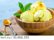 Купить «Artisanal ice cream with turmeric (Golden ice cream)», фото № 30866355, снято 31 мая 2019 г. (c) Марина Сапрунова / Фотобанк Лори