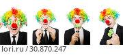 Купить «Clown with lollipop isolated on white», фото № 30870247, снято 21 марта 2014 г. (c) Elnur / Фотобанк Лори