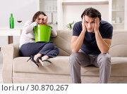 Купить «Young wife suffering from sick stomach and vomiting», фото № 30870267, снято 16 января 2019 г. (c) Elnur / Фотобанк Лори