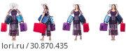 Купить «Young woman with suitcases isolated on white», фото № 30870435, снято 17 ноября 2019 г. (c) Elnur / Фотобанк Лори