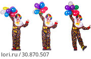 Купить «Funny male clown isolated on white», фото № 30870507, снято 22 июля 2019 г. (c) Elnur / Фотобанк Лори
