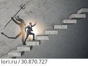 Купить «Businessman with alter ego climbing career ladder», фото № 30870727, снято 19 октября 2019 г. (c) Elnur / Фотобанк Лори