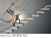 Businessman with alter ego climbing career ladder. Стоковое фото, фотограф Elnur / Фотобанк Лори