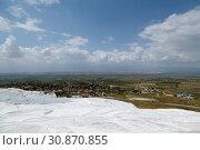 Travertine pools and terraces in Pamukkale, Turkey (2015 год). Стоковое фото, фотограф Анна Иноземцева / Фотобанк Лори