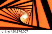 Купить «Abstract orange black tunnel 3d spiral», фото № 30876007, снято 16 июня 2019 г. (c) EugeneSergeev / Фотобанк Лори