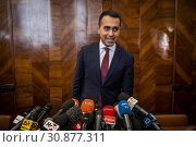 Купить «Italian Deputy Prime Minister, Minister of Industry and Labor, Leader of 5 Stars Movement Luigi Di Maio during the press conference in Rome, ITALY-27-05-2019.», фото № 30877311, снято 27 мая 2019 г. (c) age Fotostock / Фотобанк Лори