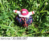 Традиционная русская народная кукла-травница среди полевой травы. Стоковое фото, фотограф Елена Орлова / Фотобанк Лори
