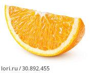 Купить «Wedge of orange isolated on white», фото № 30892455, снято 25 апреля 2019 г. (c) Роман Самохин / Фотобанк Лори