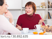 Adult female talking with daughter with cup of coffee. Стоковое фото, фотограф Яков Филимонов / Фотобанк Лори