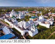 Купить «Aerial view of city of Rostov-on-don with monastery and river Don», фото № 30892875, снято 9 мая 2019 г. (c) Яков Филимонов / Фотобанк Лори