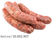 Купить «Uncooked sausages with mushrooms», фото № 30892907, снято 16 июня 2019 г. (c) Яков Филимонов / Фотобанк Лори